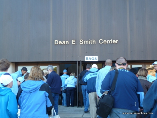 The entrance to the Dean Smith Center