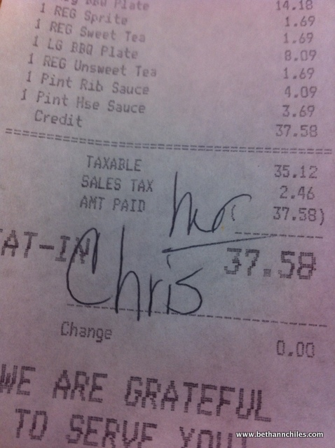 I love the South where they address you so respectfully!!!! Even on bills!