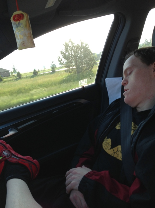The road trip begins---my partner in crime conked out after 30 minutes.