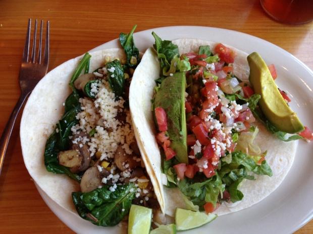Veggie and Avocado tacos at Taco Lu