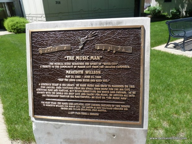 Info plate at Music Man Square where the next statue resides permanently