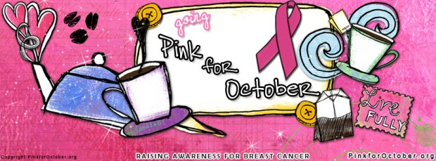 "To download your own ""Pink"" buttons and Facebook covers go to http://www.pinkforoctober.org"