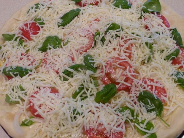 White Pizza with tomato, basil, garlic