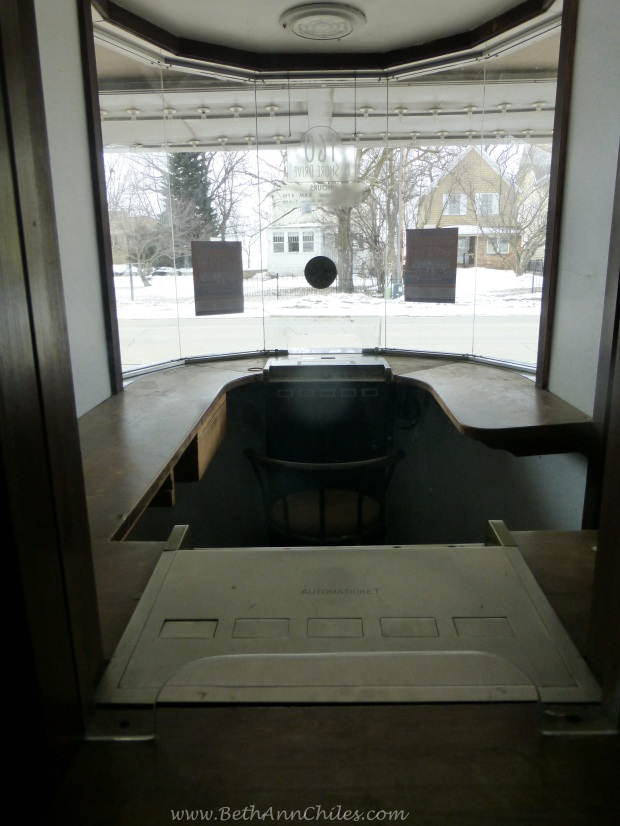 The ticket booth from the inside looking out.