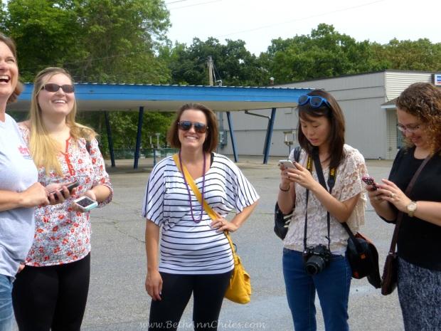 Sara Broers, Amy Hild, Katy Flint, Jeni Flaa and Donna Hup posting post Barrel chicken eating pics!