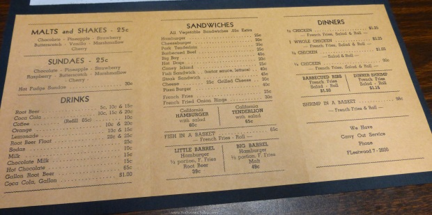 An old menu shows the offerings.